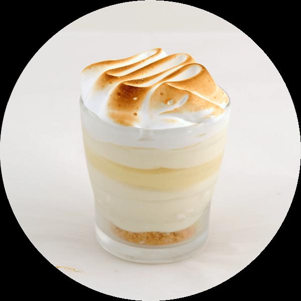 Citron meringuée Elien : crème glacée citron, crémeux citron, morceaux de meringue, crumble et meringue italienne.